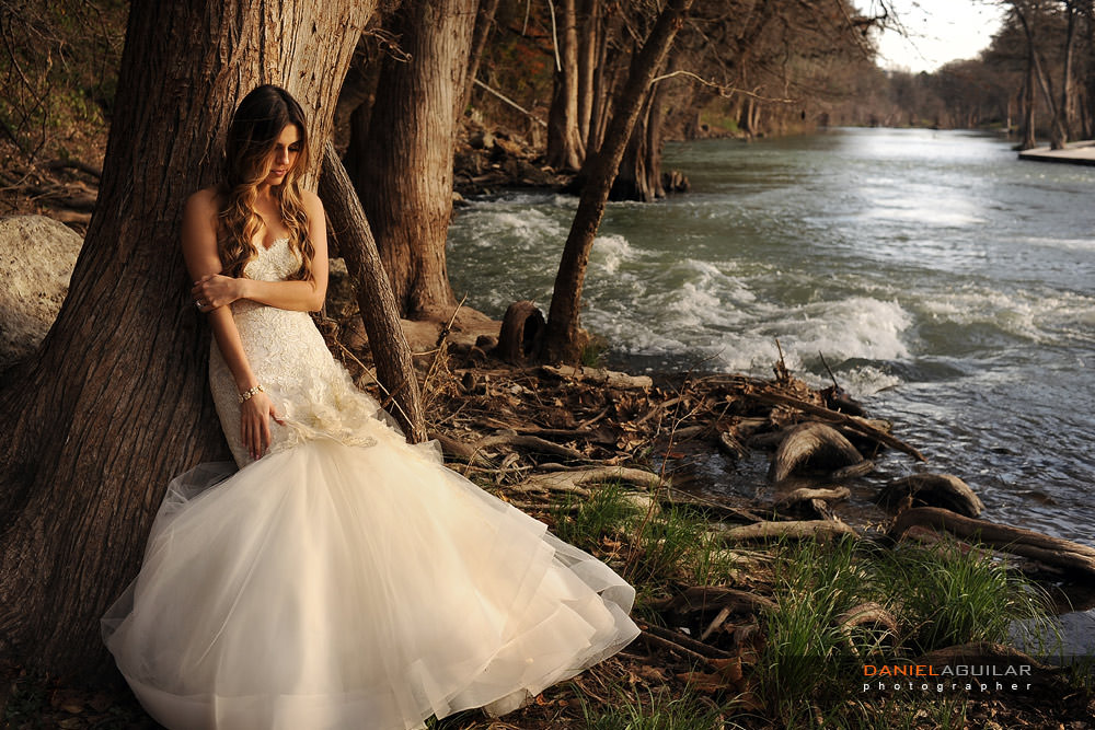 Gruene TX trash the dress at sunset on the shore of Guadalupe River